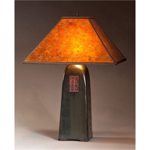 Four Sided Onyx Glaze Table Lamp North Union Collection With Amber Mica  Shade By Jim Webb