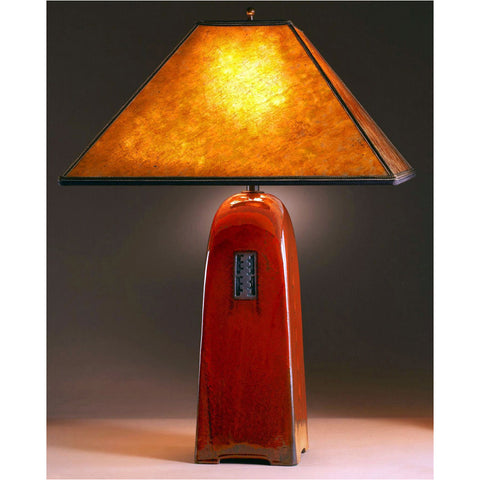 Four Sided Russet Glaze Table Lamp North Union Collection With Amber Mica  Shade By Jim Webb