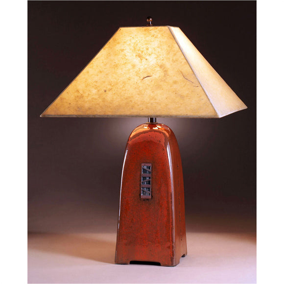 Jim Webb Studio 233 Four Sided Russet Glaze Table Lamp North Union Collection with Natural Lotka Paper Shade Shade