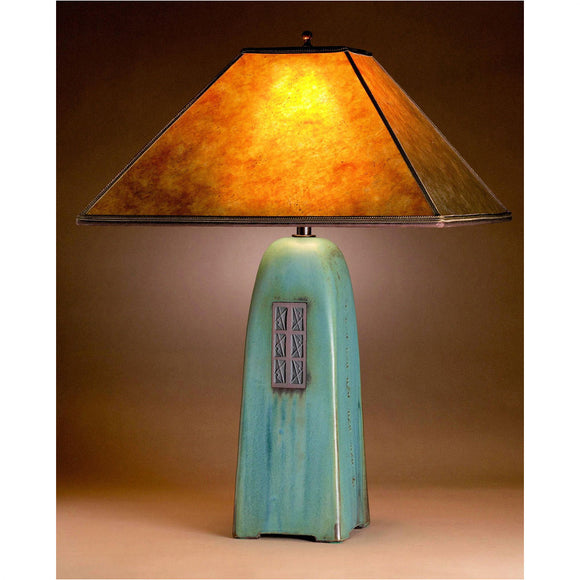 Jim Webb Studio 233 Four Sided Viridian Glaze Table Lamp North Union Collection with Amber Mica Shade