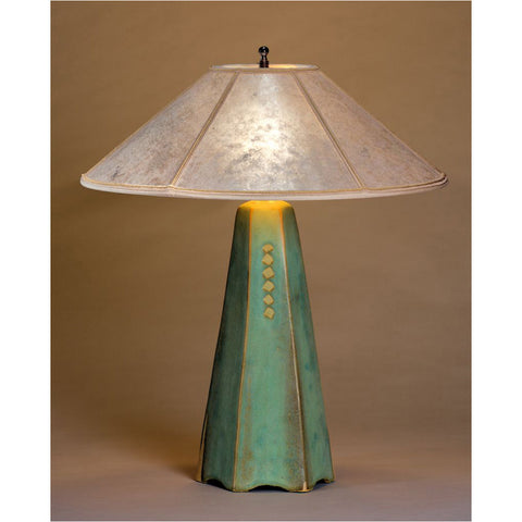 Jim Webb Studio 233 Six Sided Celery Glaze Table Lamp Hopewell Collection with Silver Mica Shade