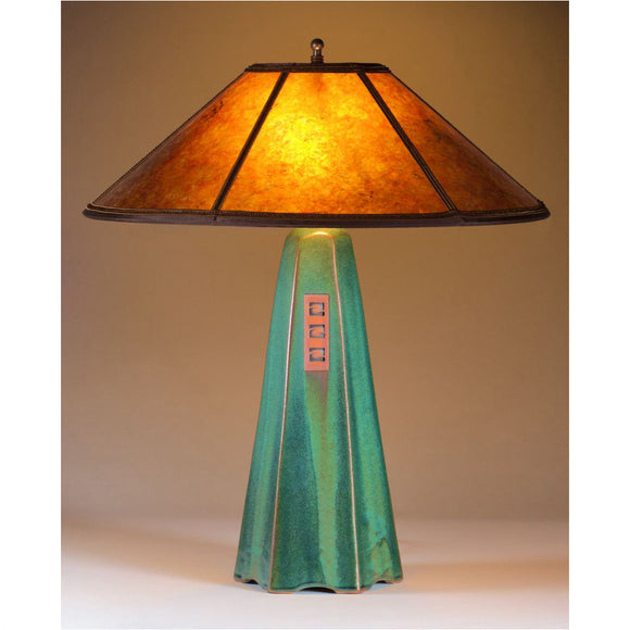 Jim Webb Studio 233 Six Sided Moss Glaze Table Lamp Hopewell Collection with Amber Mica Shade