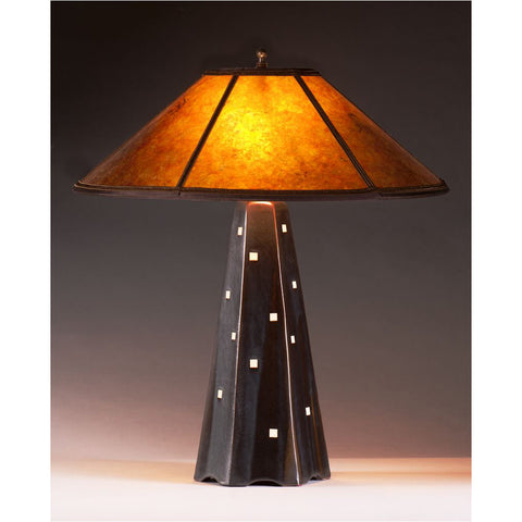 Six Sided Onyx Glaze Table Lamp Hopewell Collection With Amber Mica Shade  By Jim Webb