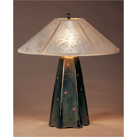 Jim Webb Studio 233 Six Sided Onyx Glaze Table Lamp Hopewell Collection with Silver Mica Shade