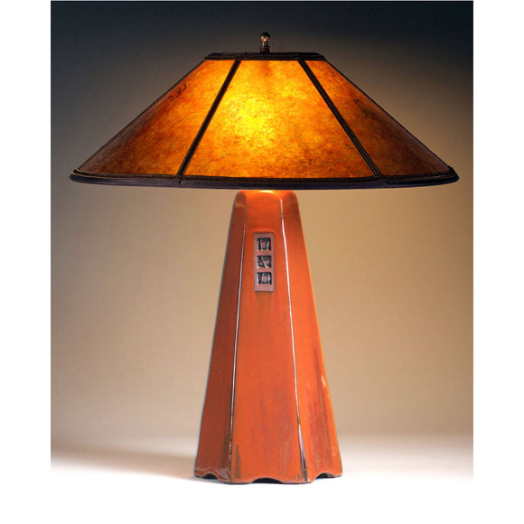 Jim Webb Studio 233 Six Sided Russet Glaze Table Lamp Hopewell Collection with Amber Mica Shade