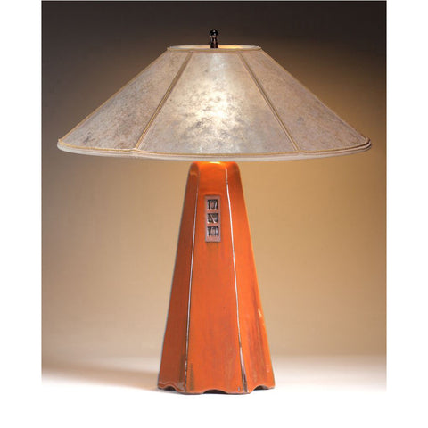 Beautiful Six Sided Russet Glaze Table Lamp Hopewell Collection With Silver Mica  Shade By Jim Webb