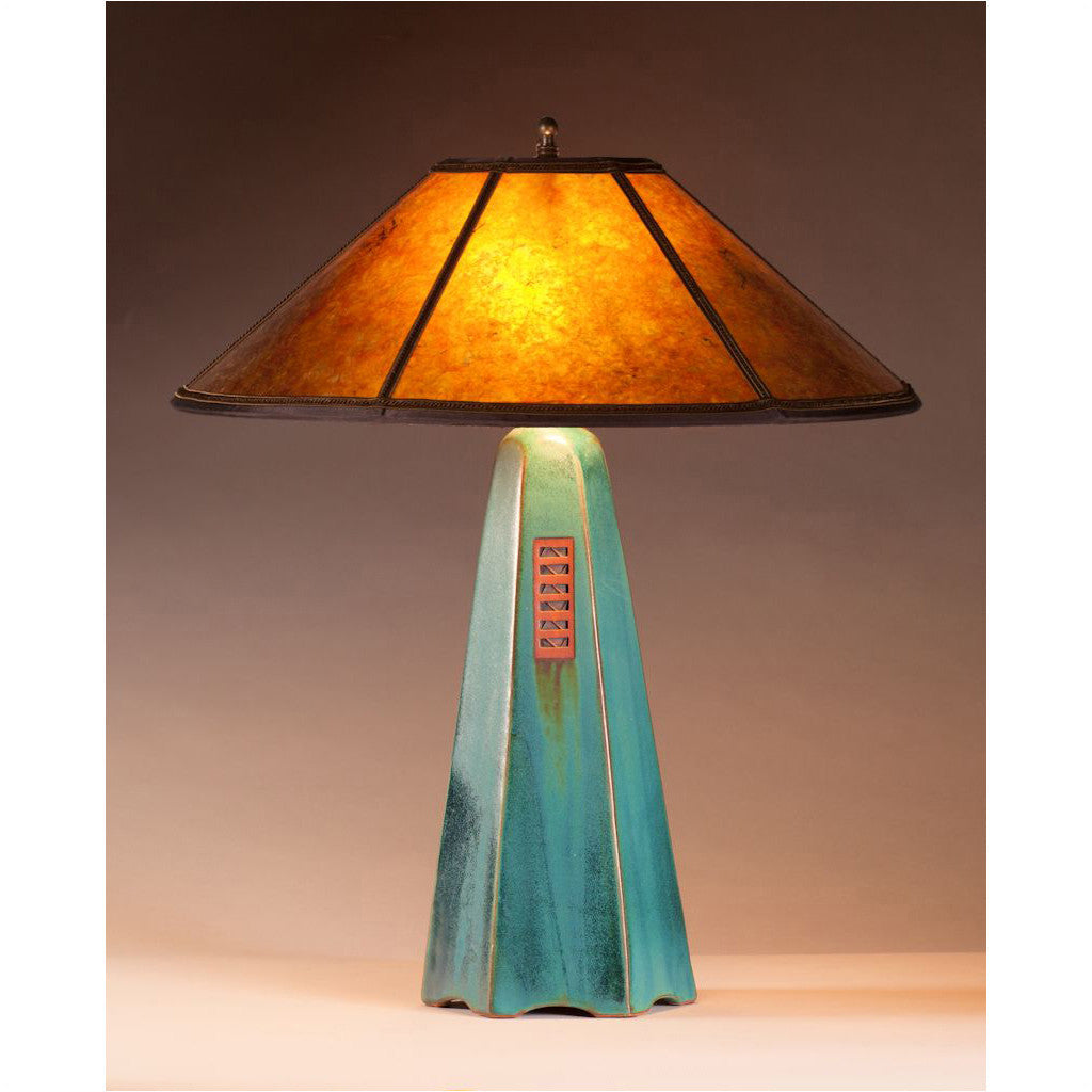 Jim Webb Studio 233 Six Sided Viridian Glaze Table Lamp Hopewell Collection with Amber Mica Shade