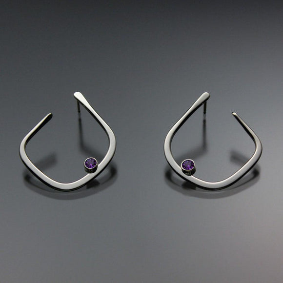 John Tzelepis Jewelry Sterling Silver or 14K Gold Amethyst Earrings EAR050SSAM Handcrafted Artistic Artisan Designer Jewelry