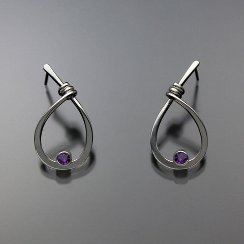 John Tzelepis Jewelry Sterling Silver Amethyst Earrings EAR190SMAM-1 Handcrafted Artistic Artisan Designer Jewelry