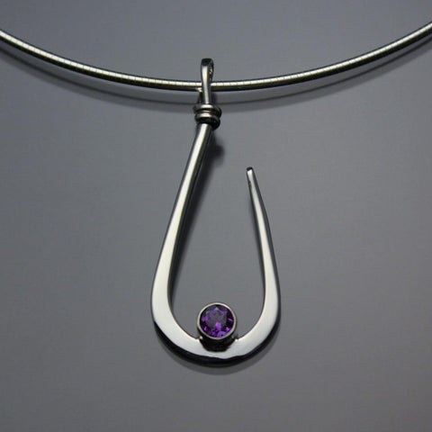 John Tzelepis Jewelry Sterling Silver or 14K Gold Amethyst Pendant Necklace PEN030AM Handcrafted Artistic Artisan Designer Jewelry