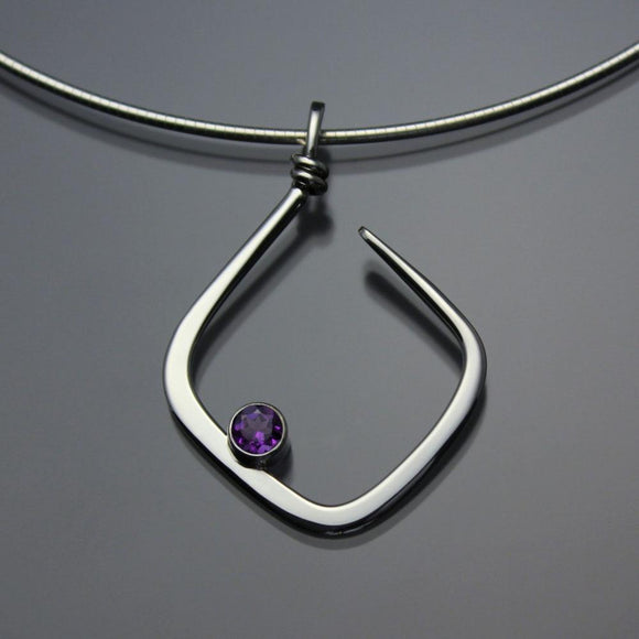 John Tzelepis Jewelry Sterling Silver or 14K Gold Amethyst Pendant Necklace PEN050AM Handcrafted Artistic Artisan Designer Jewelry