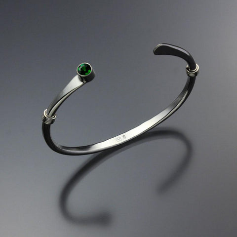 John Tzelepis Jewelry Sterling Silver Chrome Diopside Bracelet BRA021WCD-1 Handcrafted Artistic Artisan Designer Jewelry