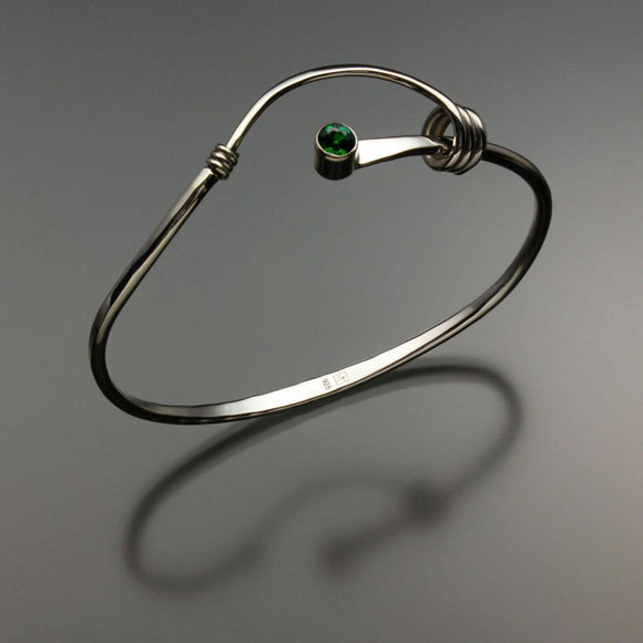 John Tzelepis Jewelry Sterling Silver Chrome Diopside Bracelet BRA540CD-3 Handcrafted Artistic Artisan Designer Jewelry