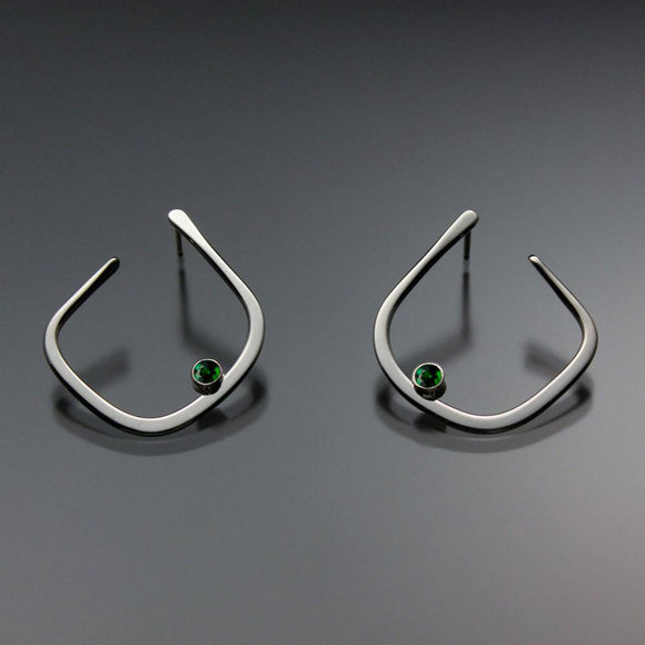 John Tzelepis Jewelry Sterling Silver or 14K Gold Chrome Diopside Earrings EAR050SSCD Handcrafted Artistic Artisan Designer Jewelry