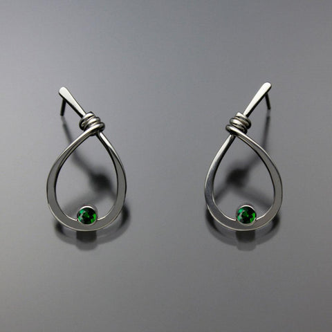 John Tzelepis Jewelry Sterling Silver Chrome Diopside Earrings EAR190SMCD-1 Handcrafted Artistic Artisan Designer Jewelry