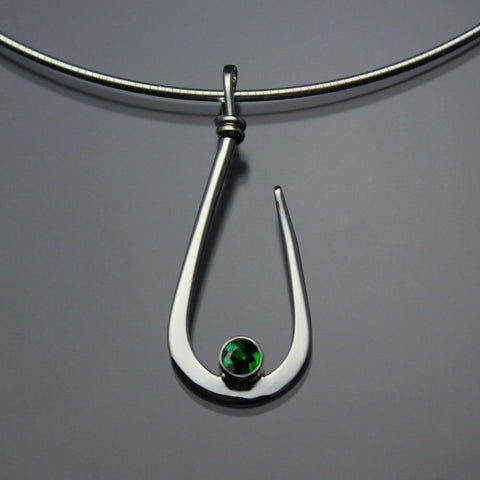 John Tzelepis Jewelry Sterling Silver Chrome Diopside Pendant Necklace PEN030CD Handcrafted Artistic Artisan Designer Jewelry