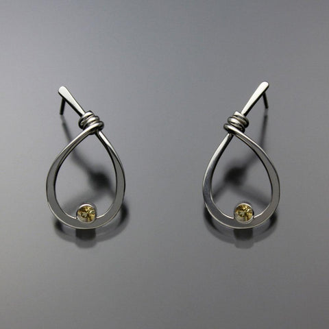 John Tzelepis Jewelry Sterling Silver Citrine Earrings EAR190SMCI-1 Handcrafted Artistic Artisan Designer Jewelry