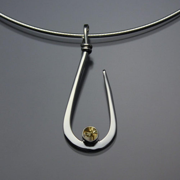John Tzelepis Jewelry Sterling Silver or 14K Gold Citrine Pendant Necklace PEN030CI Handcrafted Artistic Artisan Designer Jewelry