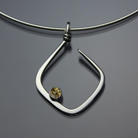 John Tzelepis Jewelry Sterling Silver or 14K Gold Citrine Pendant Necklace PEN050CI Handcrafted Artistic Artisan Designer Jewelry