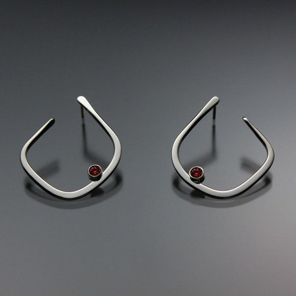 John Tzelepis Jewelry Sterling Silver or 14K Gold Garnet Earrings EAR050SSGR Handcrafted Artistic Artisan Designer Jewelry
