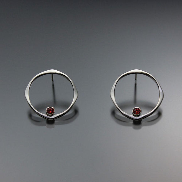 John Tzelepis Jewelry Sterling Silver or 14K Gold Garnet Earrings EAR070SMSSGR Handcrafted Artistic Artisan Designer Jewelry