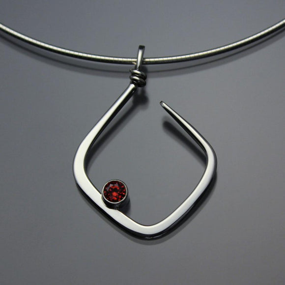 John Tzelepis Jewelry Sterling Silver or 14K Gold Garnet Pendant Necklace PEN050GR Handcrafted Artistic Artisan Designer Jewelry