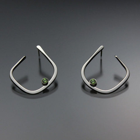 John Tzelepis Jewelry Sterling Silver or 14K Gold Peridot Earrings EAR050SSPR Handcrafted Artistic Artisan Designer Jewelry