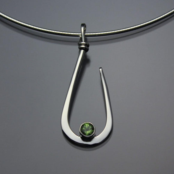 John Tzelepis Jewelry Sterling Silver or 14K Gold Peridot Pendant Necklace PEN030PR Handcrafted Artistic Artisan Designer Jewelry