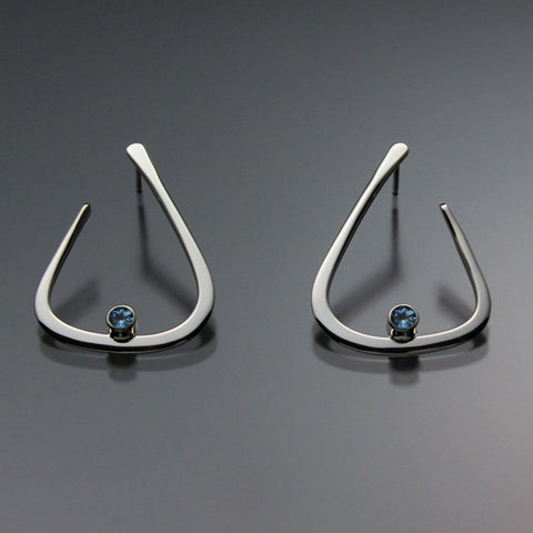 John Tzelepis Jewelry Sterling Silver or 14K GoldSwiss Blue Topaz Earrings EAR040SMSSTZ Handcrafted Artistic Artisan Designer Jewelry