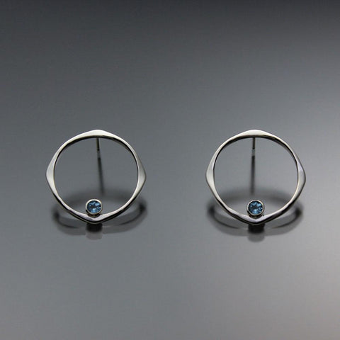 John Tzelepis Jewelry Sterling Silver or 14K Gold Swiss Blue Topaz Earrings EAR070SMSSTZ Handcrafted Artistic Artisan Designer Jewelry