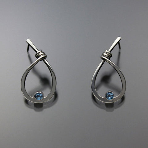 John Tzelepis Jewelry Sterling Silver Swiss Blue Topaz Earrings EAR190SMTZ-1 Handcrafted Artistic Artisan Designer Jewelry