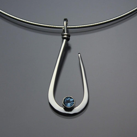 John Tzelepis Jewelry Sterling Silver or 14K Gold Swiss Blue Topaz Pendant Necklace PEN030TZ Handcrafted Artistic Artisan Designer Jewelry