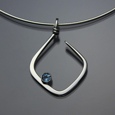 John Tzelepis Jewelry Sterling Silver or 14K Gold Swiss Blue Topaz Pendant Necklace PEN050TZ Handcrafted Artistic Artisan Designer Jewelry