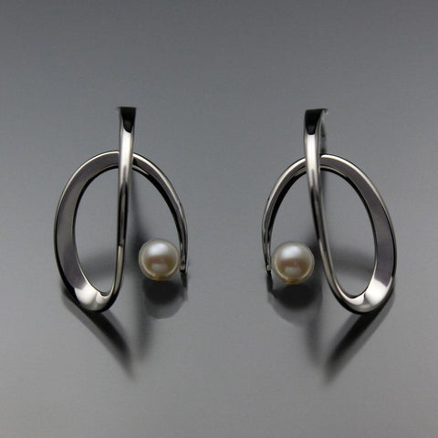 John Tzelepis Jewelry Sterling Silver or 14K Gold White Pearl Earrings EAR112LGSSPW-1 Handcrafted Artistic Artisan Designer Jewelry