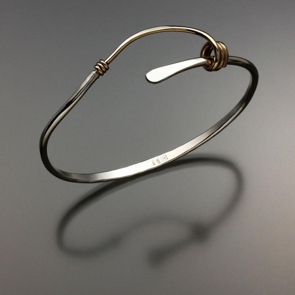 John Tzelepis Jewelry Sterling Silver and 14K Gold Bracelet BRA541-3 Handcrafted Artistic Artisan Designer Jewelry