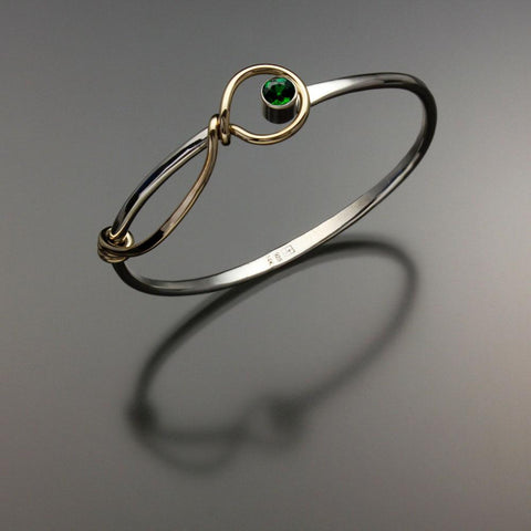 John Tzelepis Jewelry Sterling Silver and 14K Gold Chrome Diopside Bracelet BRA521CD-5 Handcrafted Artistic Artisan Designer Jewelry