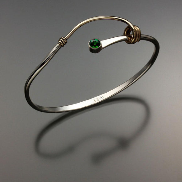 John Tzelepis Jewelry Sterling Silver and 14K Gold Chrome Diopside Bracelet BRA541CD-3 Handcrafted Artistic Artisan Designer Jewelry