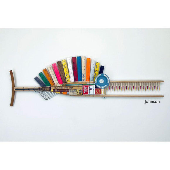 Johnson Wood Crutch Fish Sculpture with Yardstick Fin by Stephen Palmer Running Dog Studio Fish Wall Art