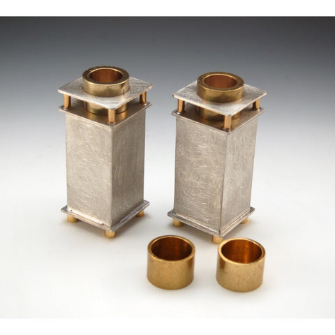 Joy Stember Metal Arts Studio Candle Holders 112 with Brass Inserts, Artistic Artisan Designer Judaica