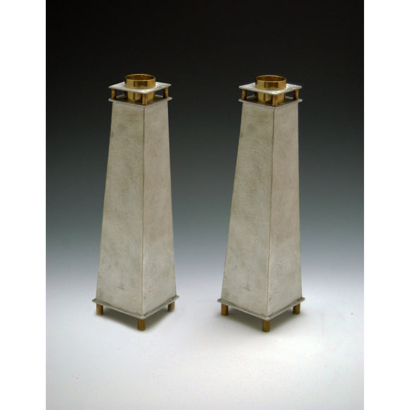 Joy Stember Metal Arts Studio Candle Holders 130 Tall Tapered, Artistic Artisan Designer Judaica