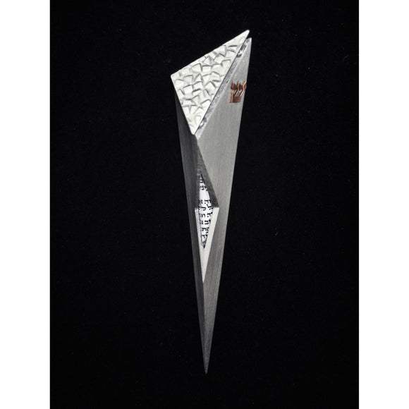 Joy Stember Metal Arts Studio Mezuzah 122 Raised Top with Window, Artistic Artisan Designer Judaica
