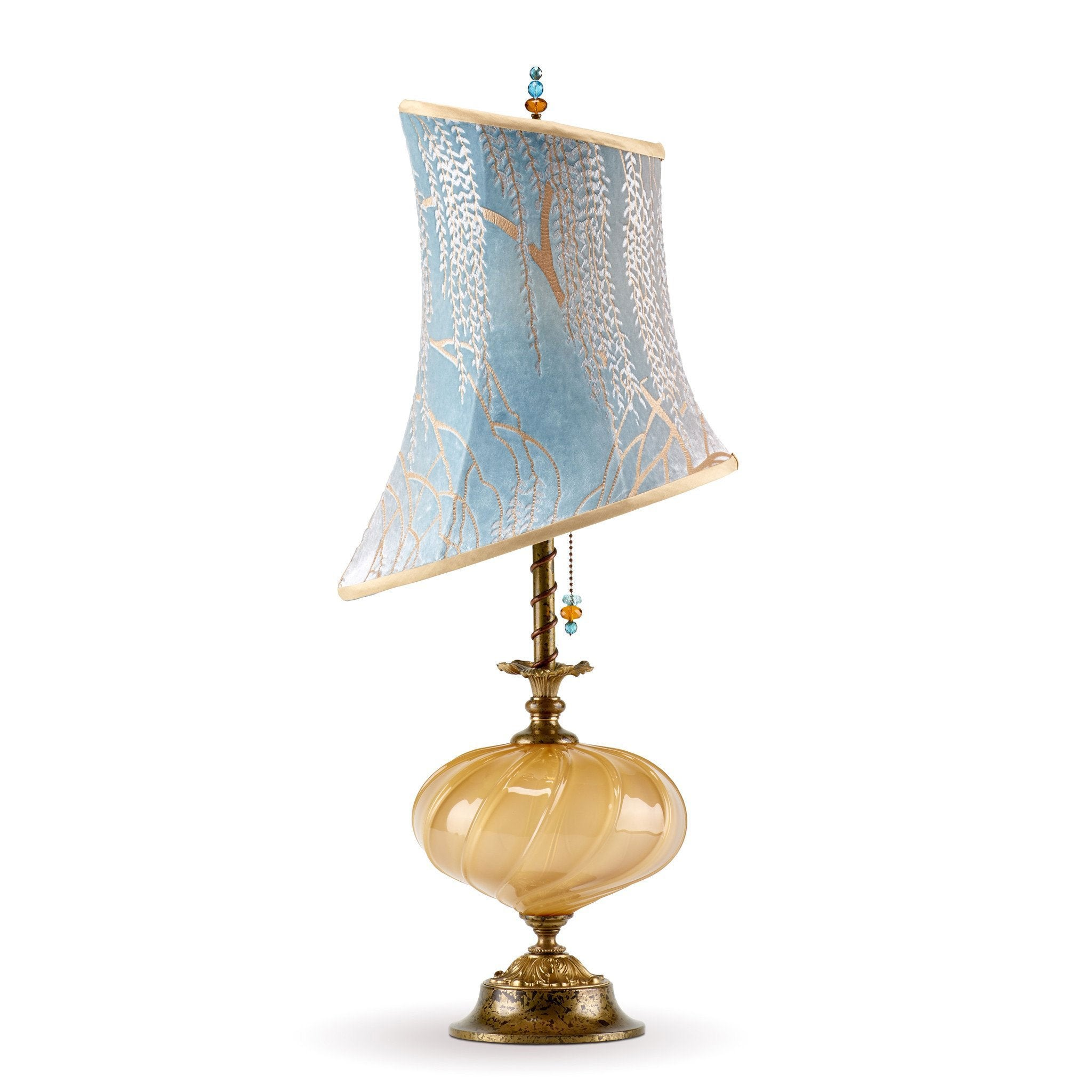Kinzig Design Alexis Table Lamp 154 M 132 Colors Blue Taupe Gold With Blown  Glass Base