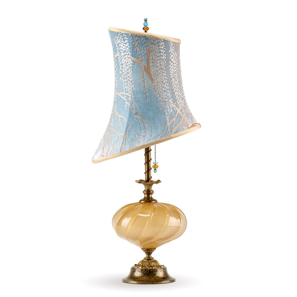 Kinzig Design Alexis Table Lamp 154 M 132 Colors Blue Taupe Gold with Blown Glass Base and Silk Shade Artistic Artisan Designer Table Lamps