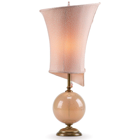 Kinzig Design Celia Table Lamp 167 AP 143 Cream Blown Glass Base with Linen Shade Artistic Artisan Designer Table Lamps