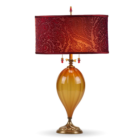 Kinzig Design Claire Table Lamp 176 Af 153 Colors Caramel Colored Blown Glass Base with Burgundy and Raspberry Silk Velvet Shade Artistic Artisan Designer Table Lamps