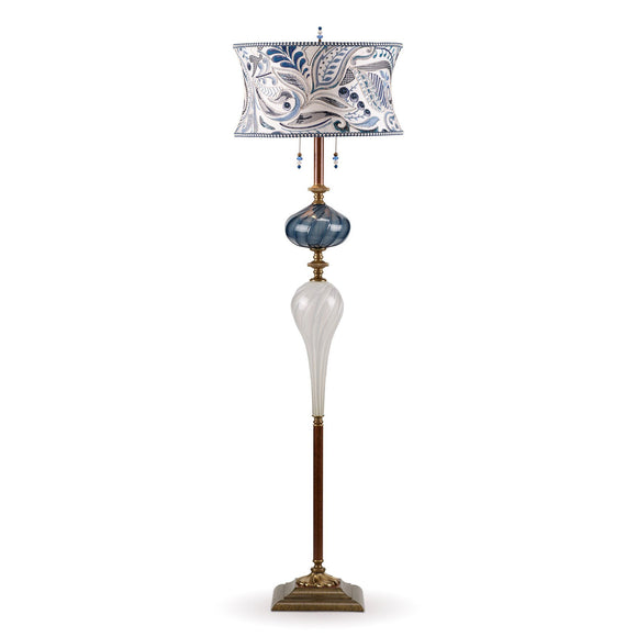 Kinzig Design Evaristo Floor Lamp F184 K 149 Colors Blue and White Blown Glass Base with Blue and White Embroidered Shade Artistic Artisan Designer Floor Lamps