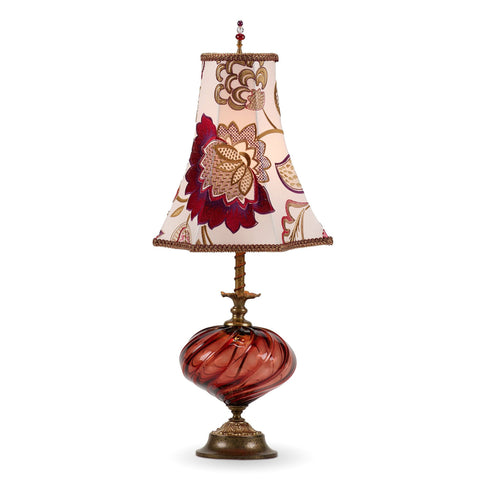 Kinzig Design Franny Table Lamp 179 A 148 Colors Red Blown Glass Base with Enmbroidered Red Scarlet Purple Gold and White Floral Shade Artistic Artisan Designer Table Lamps