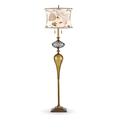 Kinzig Design Hunter Floor Lamp F 174 I 146 Colors Gray and Gold Blown Glass Base with Cream Green Gold and Gray Embroidered Shade Artistic Artisan Designer Floor Lamps