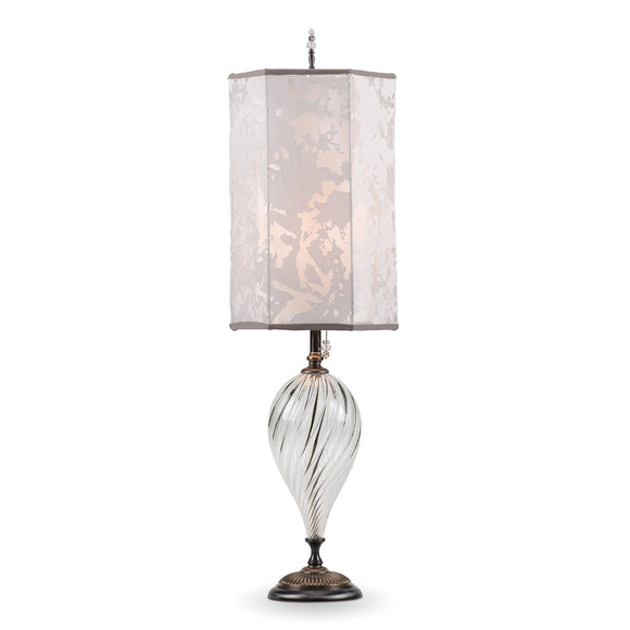 Kinzig Design Julianna Table Lamp 178 Ar 154 Colors Clear Silver Blown Glass Base with Hexagonal Silver Gray Patterned Fabric Shade Artistic Artisan Designer Table Lamps