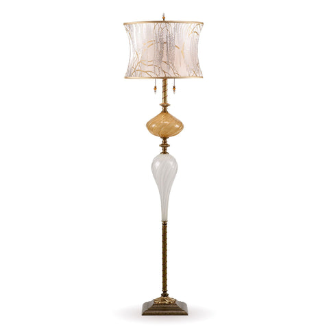 Kinzig Design Katz Floor Lamp F 185 I 133 Colors Gold and White Blown Glass Base with White on White Silk Shade Artistic Artisan Designer Floor Lamps